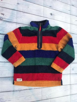 Joules thick multi-coloured half zip up fleece age 7 (fits age 6-7)
